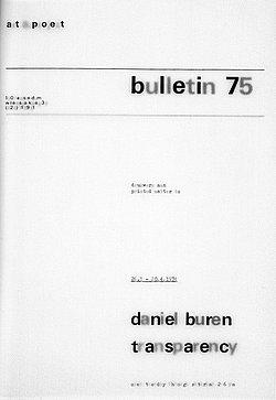 Abb.6: Daniel Buren: Art & Project Bulletin 75, transparentes Papier, Titelseite.